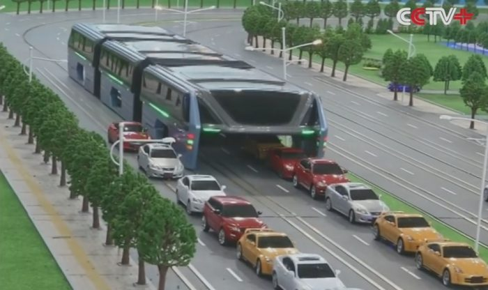 Chinas Transit Elevated Bus Debuts at Beijing Intel High Tech Expo